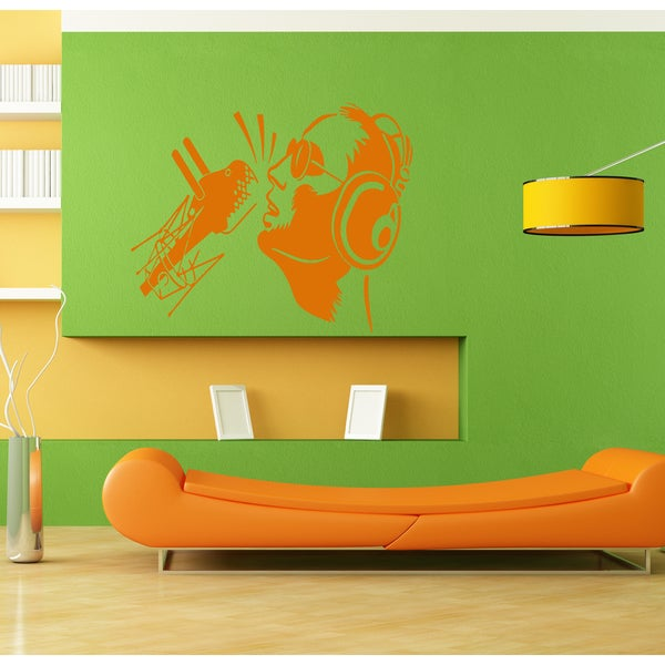 The singer in the studio Wall Art Sticker Decal Orange