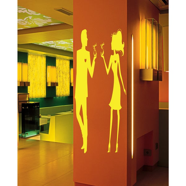 Man and woman drinking a hot drink Wall Art Sticker Decal Yellow