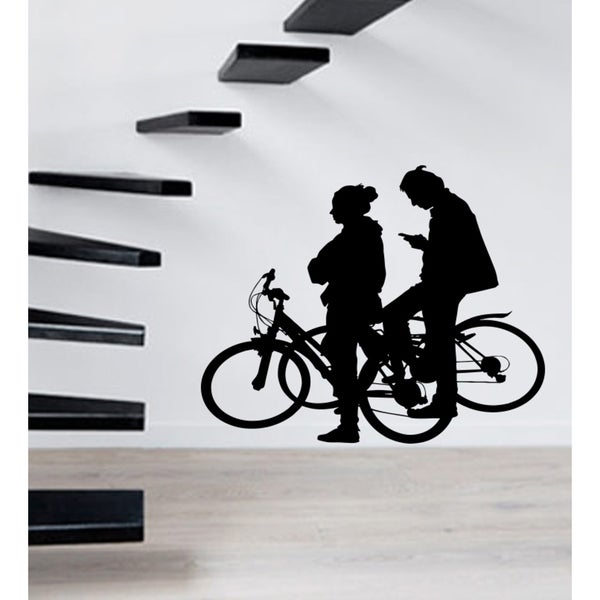 A walk on the bike Wall Art Sticker Decal