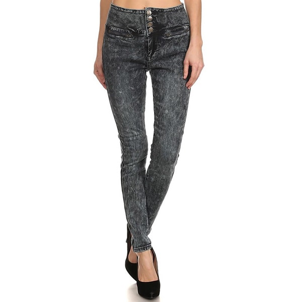 JED Women's Acid-wash Denim High-waist Skinny Jeans