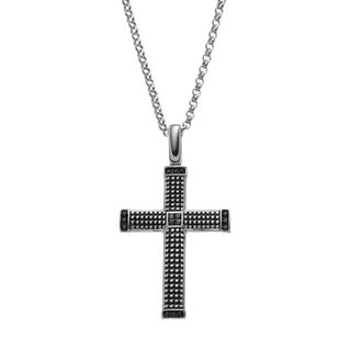 JewelMore Men's Sterling Silver and 1/4-Carat Diamond Textured Black Cross Pendant Necklace