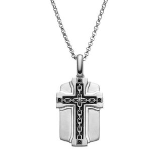 JewelMore 1/10-carat Black Diamond Accent Sterling Silver Cross Link Dog Tag Necklace