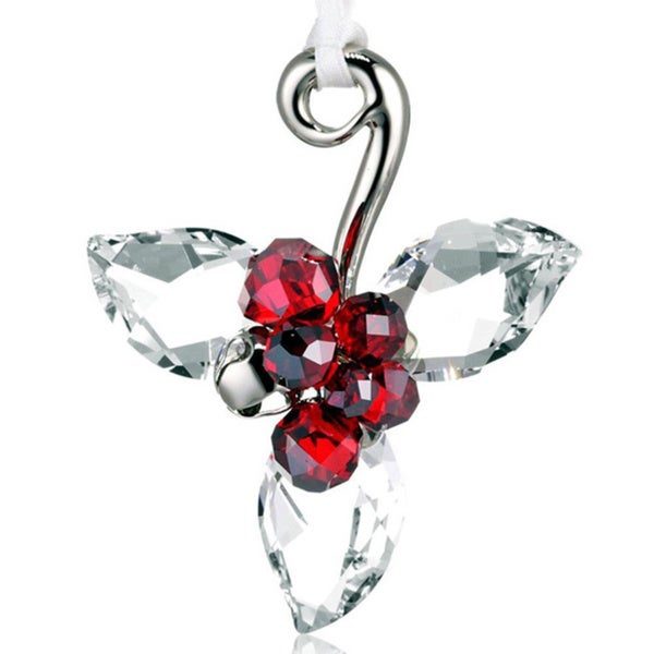 Light Siam Satin Crystal Winter Berries Ornament