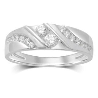 Unending Love 10k White Gold Round-cut Diamond Band