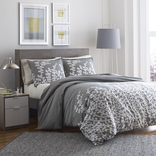 City Scene Cotton Branches Grey Comforter Set