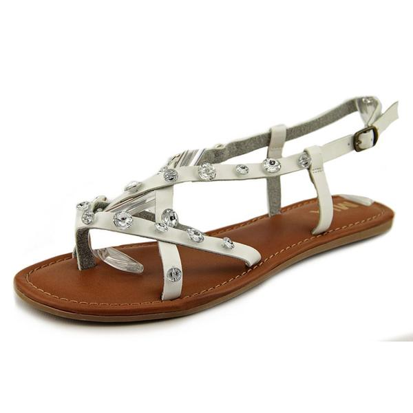 MIA Women's Peace White Faux Leather Strappy Sandals