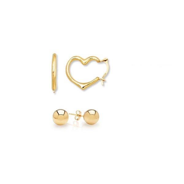 2 PAIRS 14K HIGH POLISHED BALL AND HEART EARRINGS