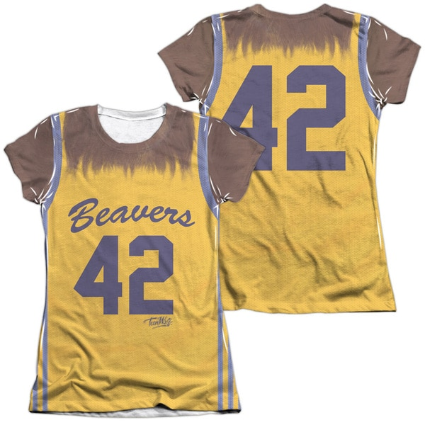 Teen Wolf/Jersey (Front/Back Print) Short Sleeve Junior 65/35 Poly/Cotton Crew in White