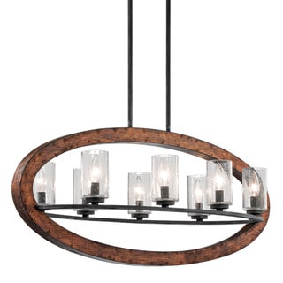 Kichler Lighting Grand Bank Collection 8-light Auburn Stain Linear Chandelier
