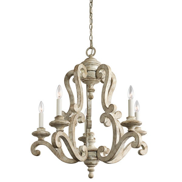 Kichler Lighting Hayman Bay Collection 5-light Distressed Antique White Chandelier