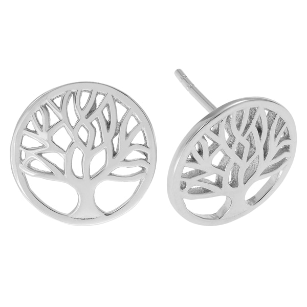 Journee Collection Sterling Silver Tree of Life Stud Earrings