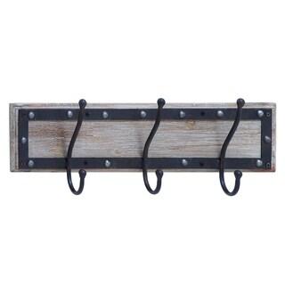 Metal and Wood 22-inch x 3.5-inch x 7-inch Wall Hook Organizer