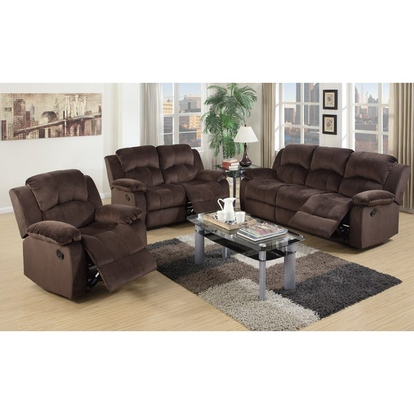 Como Brown Pine and Suede 3-piece Living Room Set