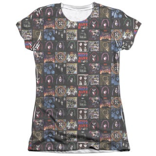 Kiss/Album Covers Short Sleeve Junior 65/35 Poly/Cotton Crew in White