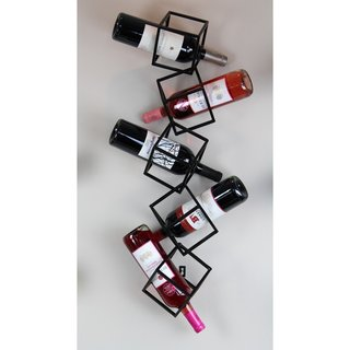 Black Metal 5-bottle Wall-hanging Wine Rack