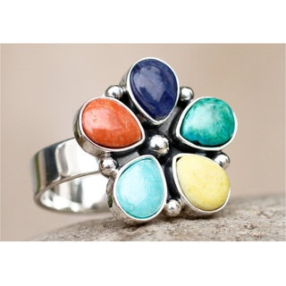 Sterling Silver 'Andean Bloom' Multi-gemstones Flower Ring (Peru)