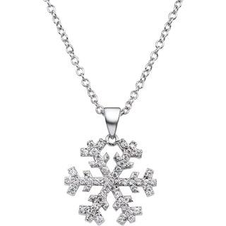 Simon Frank CZ Pave Snowflake Silvertone 18-inch Necklace