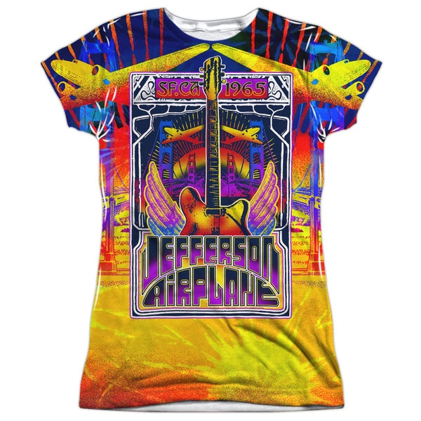 Jefferson Airplane/San Francisco (Front/Back Print) Short Sleeve Junior Poly Crew in White
