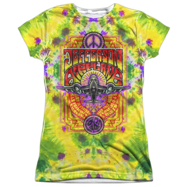 Jefferson Airplane/Take Off (Front/Back Print) Short Sleeve Junior Poly Crew in White