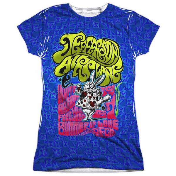 Jefferson Airplane/White Rabbit (Front/Back Print) Short Sleeve Junior Poly Crew in White