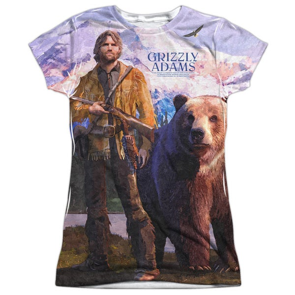 Grizzly Adams/Man and Bear (Front/Back Print) Short Sleeve Junior Poly Crew in White