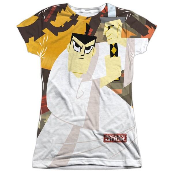 Samurai Jack/Eternal Foes (Front/Back Print) Short Sleeve Junior Poly Crew in Sublimate White