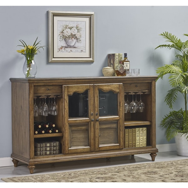Budapest Brown Wood Veneer Storage Credenza