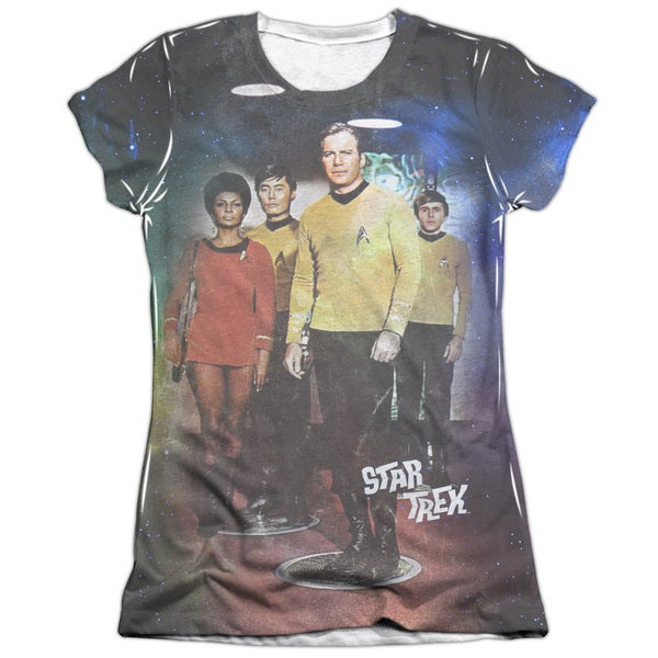 Star Trek/Transport Short Sleeve Junior 65/35 Poly/Cotton Crew in White