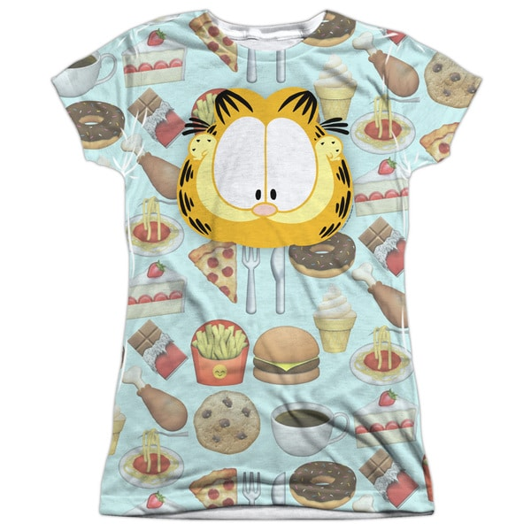 Garfield/Cat Food Short Sleeve Junior Poly Crew in White