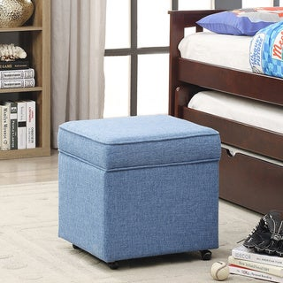 Iconic Home George Blue, Green, Purple, Yellow Linen Square Storage Ottoman