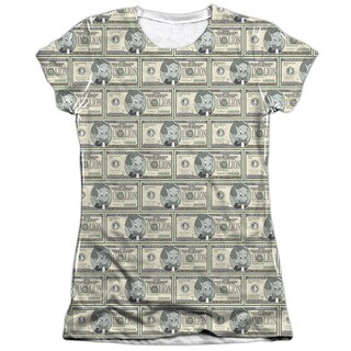 Richie Rich/Millions (Front/Back Print) Short Sleeve Junior Poly/Cotton Crew in White