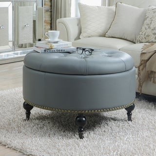 Iconic Home Mona Black/Grey/Cream Leather Hidden Storage Button Tufted Gold Nailhead Trim Round Ottoman