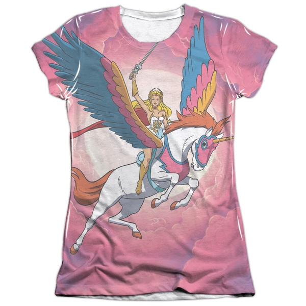 She Ra/Sky Power (Front/Back Print) Short Sleeve Junior Poly/Cotton Crew in White