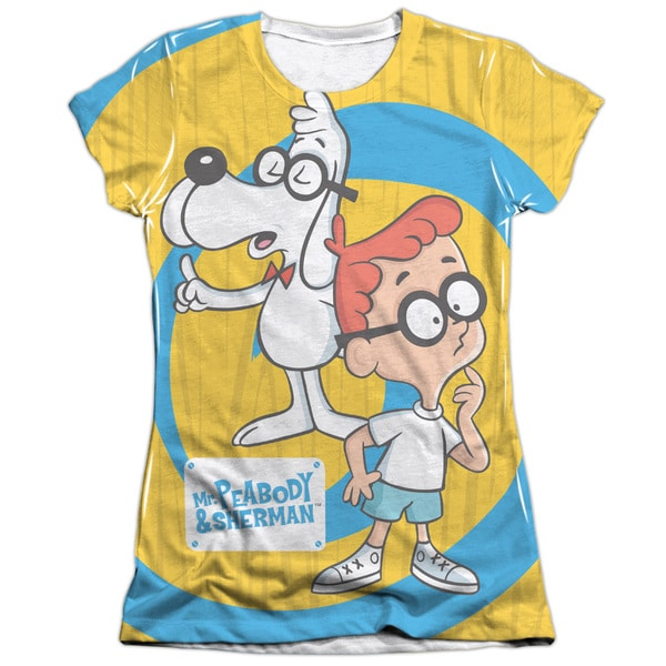Mr Peabody & Sherman/Explanation (Front/Back Print) Short Sleeve Junior Poly/Cotton Crew in White