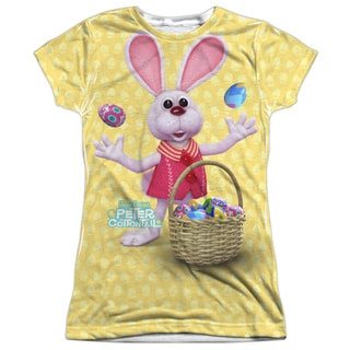 Here Comes Peter Cottontail/Basket Of Eggs Short Sleeve Junior Poly Crew in White