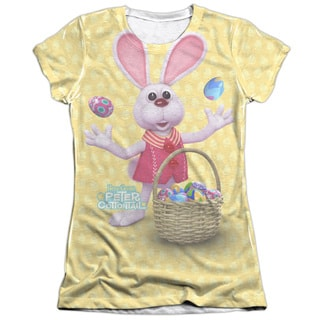 Here Comes Peter Cottontail/Basket Of Eggs (Front/Back Print) Short Sleeve Junior Poly/Cotton Crew in White
