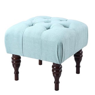 Iconic Home Bach Blue/Grey/Beige Linen/Wood Button Tufted Solid Turned Legs Ottoman
