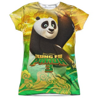 Kung Fu Panda/Po and Friends Short Sleeve Junior 100-percent Poly Crew in White