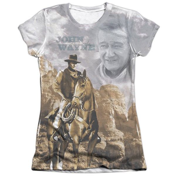 John Wayne/Ride Em Cowboy (Front/Back Print) Short Sleeve Junior Poly/Cotton Crew in White
