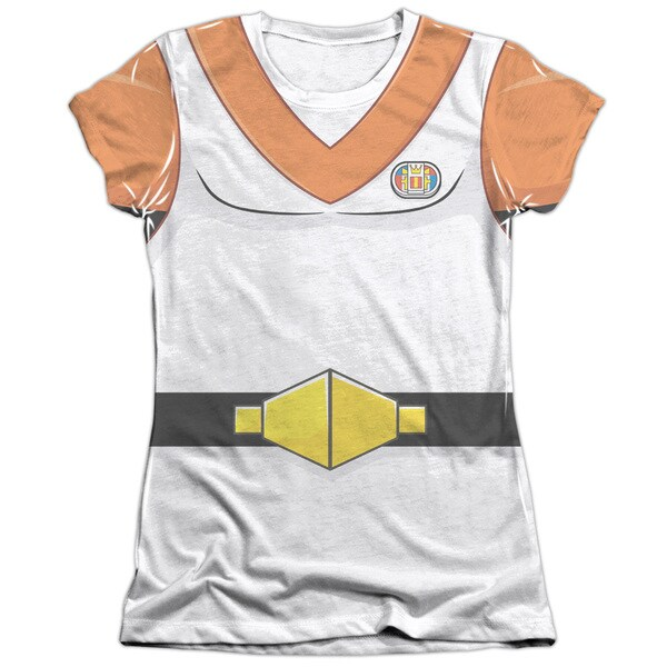Voltron/Hunk Costume (Front/Back Print) Short Sleeve Junior 65/35 Poly/Cotton Crew in White