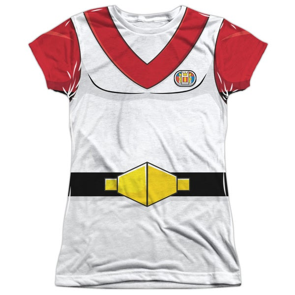 Voltron/Keith Costume (Front/Back Print) Short Sleeve Junior 100-percent Poly Crew in White