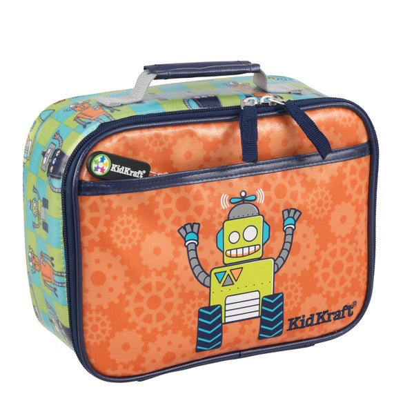 Kid Kraft Green and Orange Polyester Graphic Robot Lunch Box