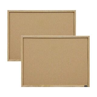 Quartet Cork Oak Frame Bulletin Board (Set of 2)