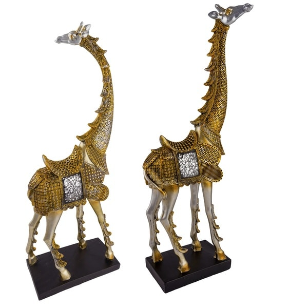 Red Vanilla Gold/Silver Polyresin Giraffe Figurines (Set of 2)
