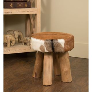 Crafted Home Decorative Ferndale Round Hide Stool