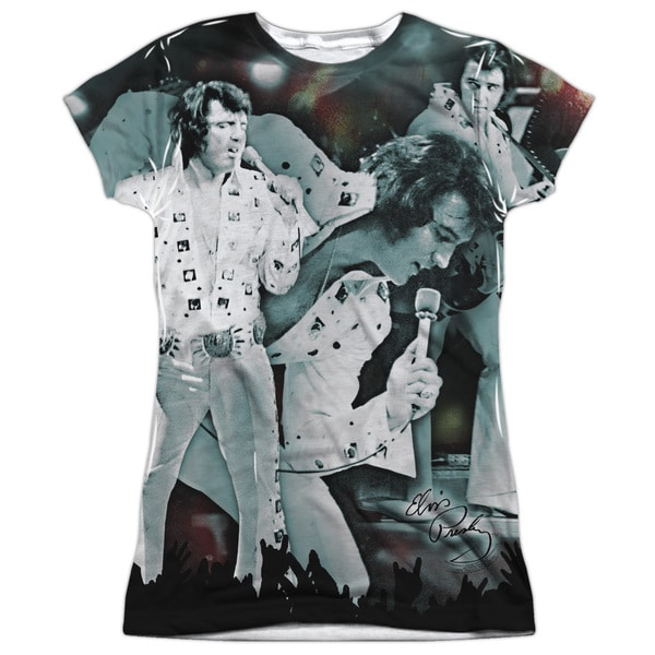 Elvis/Now Playing Short Sleeve Junior Poly Crew in White