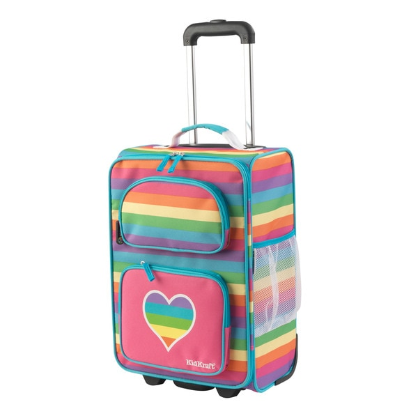 Kid Kraft Rainbow Polyester 18-inch Rolling Suitcase