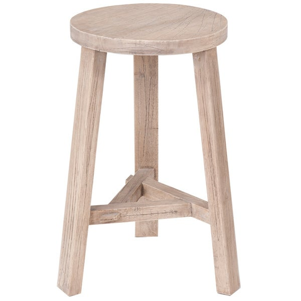 Crafted Home Decorative Elma Round Wooden Stool