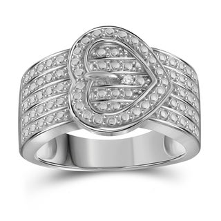 Jewelonfire Sterling Silver White Diamond Accent Heart Buckle Ring