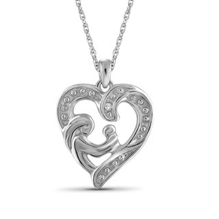 Jewelonfire Sterling Silver Diamond Mom and Child Heart Pendant - White